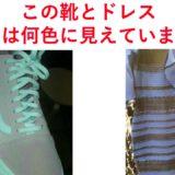 2つの色に見える不思議な靴とドレス